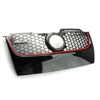 New Front Upper Bumper Center Grill Grilles Black w/ Red Trim For VW Volkswagen JETTA MK5 GTI 2006 2007 2008 2009