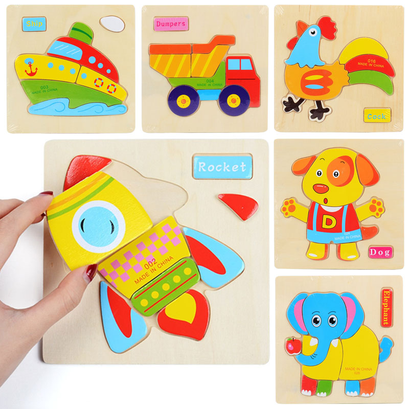 3D Wooden Puzzle Jigsaw Toys For Children Kids Cartoon Animal Car Puzzles Intelligence Baby Early Educational Toys Games 15*15CM