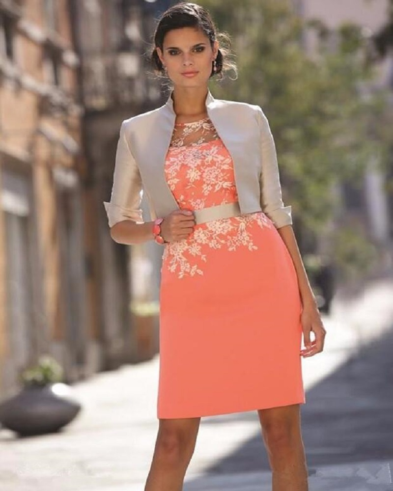 Orange 2016 Mother Of The Bride Dresses Sheath Short Mini Satin Lace Evening Dresses Mother Dresses For Wedding With Jacket