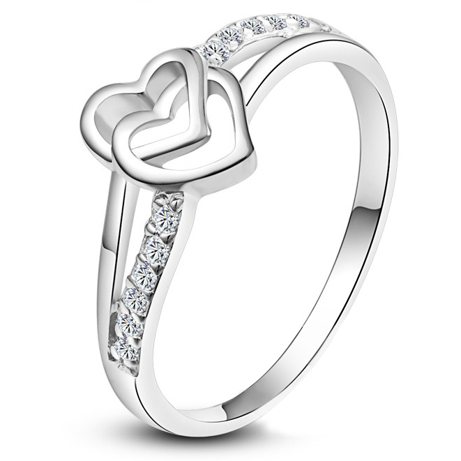 Fashion Europe Style Love Double Heart Ring for women s wedding