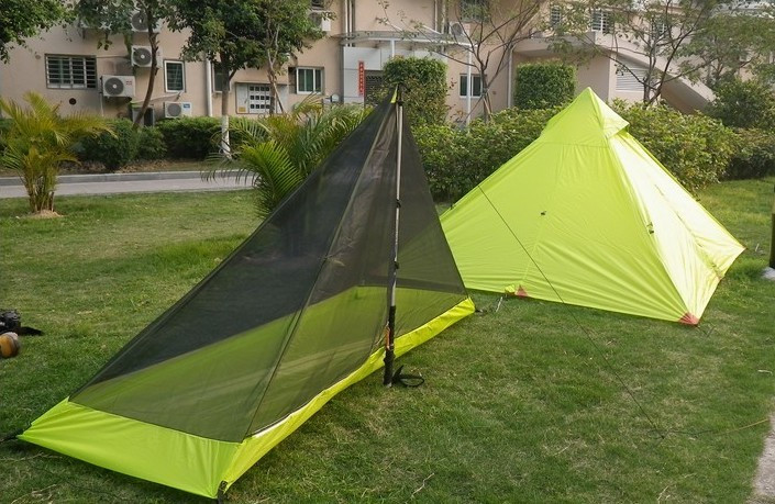 3F ultralight double layer one person 15D silicon coated waterproof windproof camping tent with bottom mat in one person