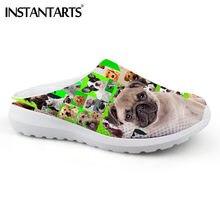cd39c5d95f43 INSTANTARTS kawaii Animal Pug Dog Summer Sandals for Women Boston Terrier  Pattern Light Women Soft Mesh