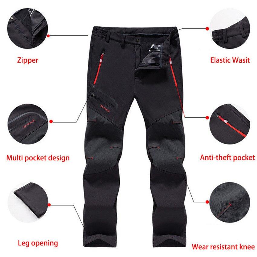 LUTU Winter Fleece pantalones de senderismo hombres Otoño Softshell - Ropa deportiva y accesorios - foto 4