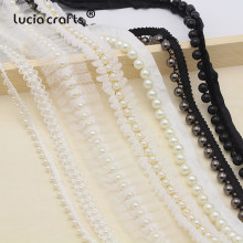 Lucia crafts 1yard/lot white/black Beaded Lace Trim Tape Fabric Ribbon DIY Collar Sewing Garment Headdress materials 050025101(China)
