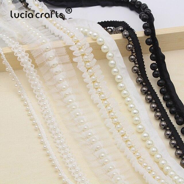 Lucia crafts 1yard lot white black Beaded Lace Trim Tape Fabric Ribbon DIY  Collar 717257c451db
