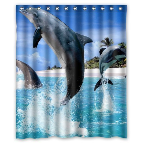 Memory Home Decorative Bath Collection Animal Dolphin Jumping Out Sea  Waterproof Polyester Fabric Shower Curtain With