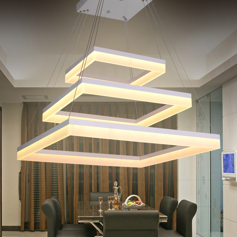 Modern Square LED Pendant Light 3 Rings Acrylic Suspended Lamp For Living Dining Room Bedroom Office Shop Indoor Lighting цена 2017