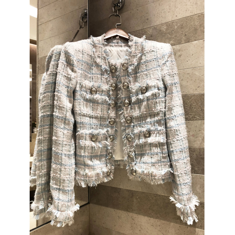Women s Silver Buckle Shoulder coat 2019 High end Fashion Woven Tweed Jacket Tassel Short Jacket