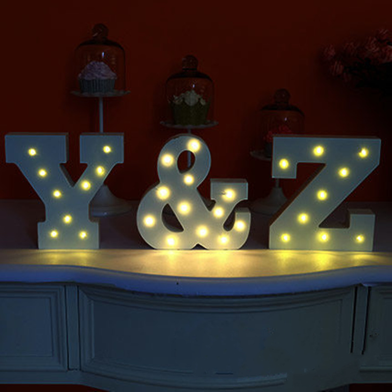 Led Sign Home Decor: 1pcs Wooden Letters Spelling Light Alphabet Marquee Sign