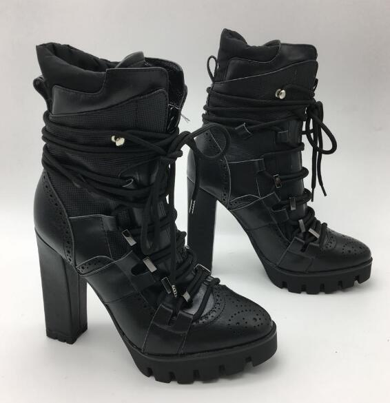 real photos large size custom make woman cool black leather chunky high heel high top lace up ankle boots plus size US 10 custom цена 2017