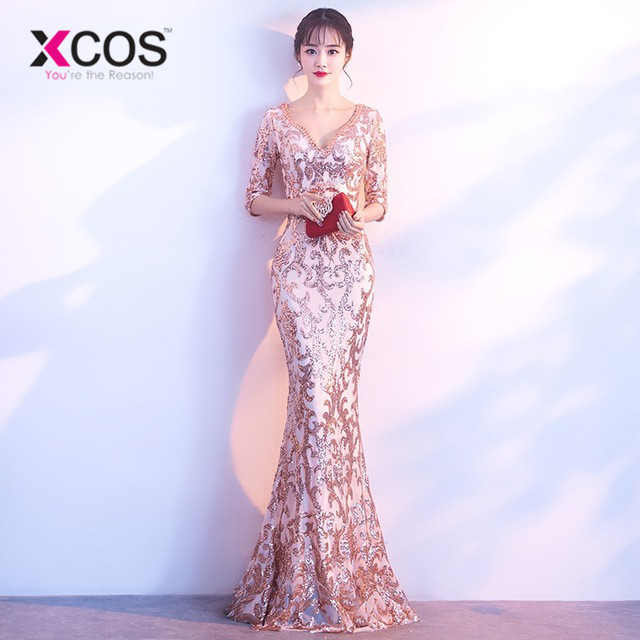 XCOS V-neck See-through Back Sequins Party Formal Dress Half Sleeve Beads Sexy Long Evening Dresses