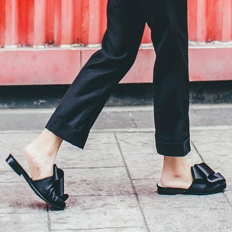 MAVIRS Märke Kvinnor Mössor Tofflor 2018 Mode Satin Bow Flats - Damskor - Foto 5