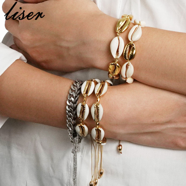 Fashion Cowrie Shell Jewelry Bracelets For Women Delicate Gold Color Easy Casing Finding Handmade Bracelet For Women wholesale