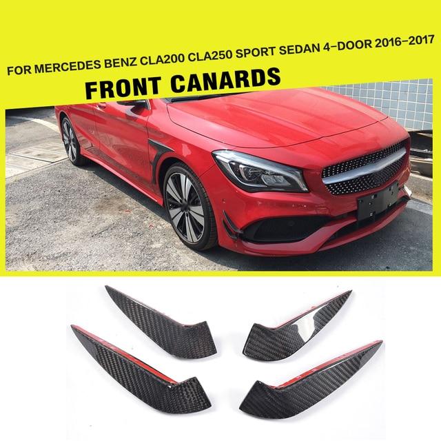 Carbon Fiber Front Bumper Canards Flossen Aufkleber Fur Mercedes