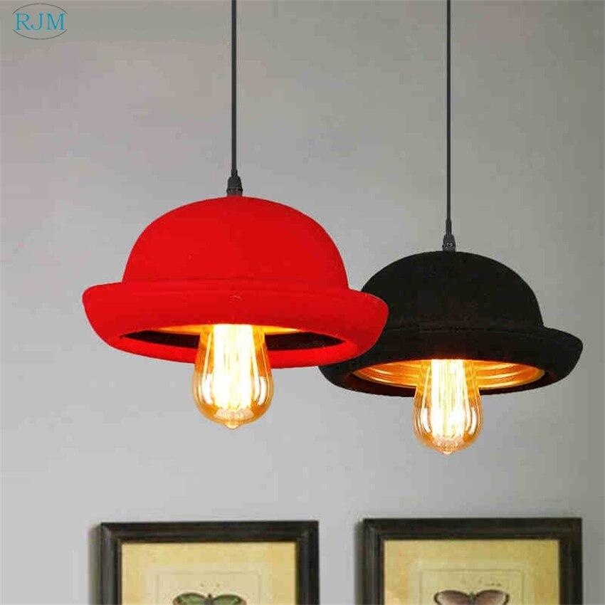 Américain rétro chapeau pendentif lampe créative tissu pendentif lumière pour allée café-Restaurant Bar intérieur luminaire décor