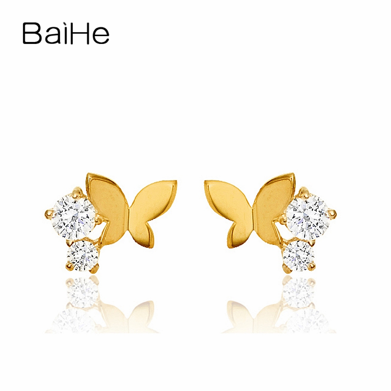 BAIHE Solid 18K Yellow Gold 0.09CT H/SI Round Genuine Natural Diamonds Engagement Trendy Jewelry Elegant Unique Stud Earrings baihe solid 18k yellow gold au750 engagement