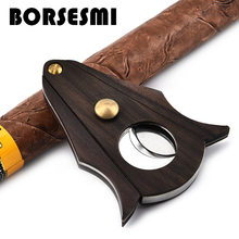 New stainless steel pocket cigar scissors with wood portable travel cigar cutter knife metal smoking tool accessories sharp 90mm