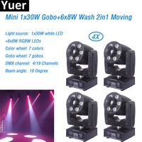 4Pcs/Lot 30W Spot +6x8w LED Wash LED Gobo Wash Moving Head Beam Light 4/18 DMX channels 7 color+7 gobo Disco DJ KTV Bar Light