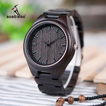 בובו גברים ציפור עץ masculino relogio שעון מותג יוקרה שעוני יד אדם קלאסי שחור חיוג קוורץ שעונים V-H05 זרוק משלוח