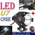 2017 de La Motocicleta LED Headlight U7 125 W 3000LM Proyector Luz de Niebla W/blue angel eyes anillo de halo moto conducción del punto de la lámpara con el interruptor