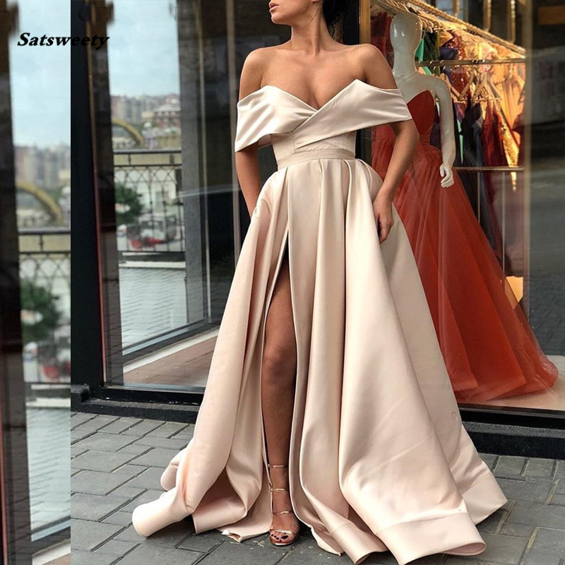 2020 Champagne Prom Dresses With Pockets Side Slit Strapless Satin Elegant Long Evening Party Gowns Wine Red Women Formal Dress