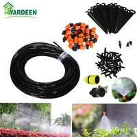 25m Automatic Micro Drip Irrigation System Garden Irrigation Spray Plants Self Watering Kits with 30pcs Adjustable Dripper