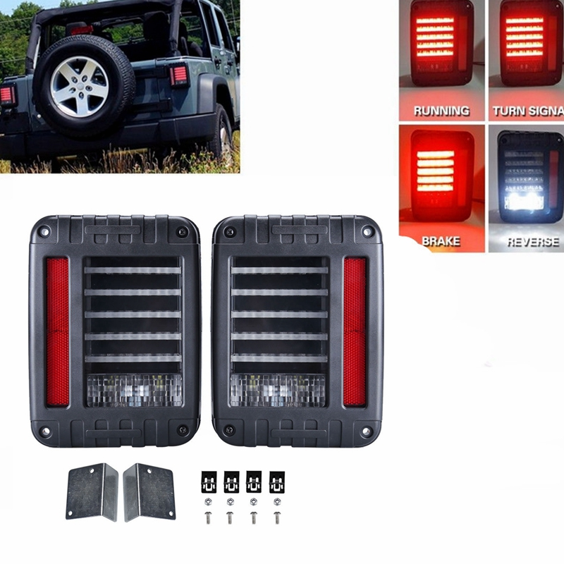 LED Tail Lights For Jeep JK 2007 2016 Black Clear Pack of 2