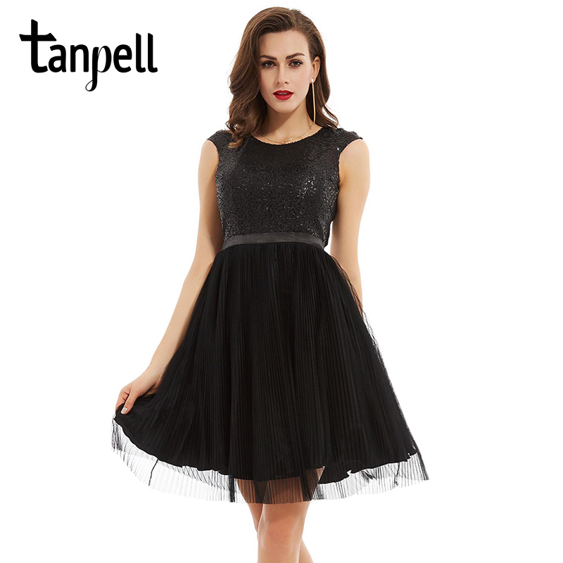 Tanpell scoop backless   cocktail     dress   black sleeveless knee length a line gown cheap lady sequined pleats short   cocktail     dresses