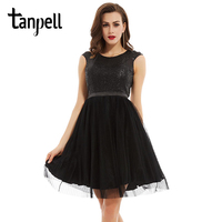 Tanpell Scoop Backless Cocktail Dress Black Sleeveless Knee Length A Line Gown Cheap Lady Sequined Pleats