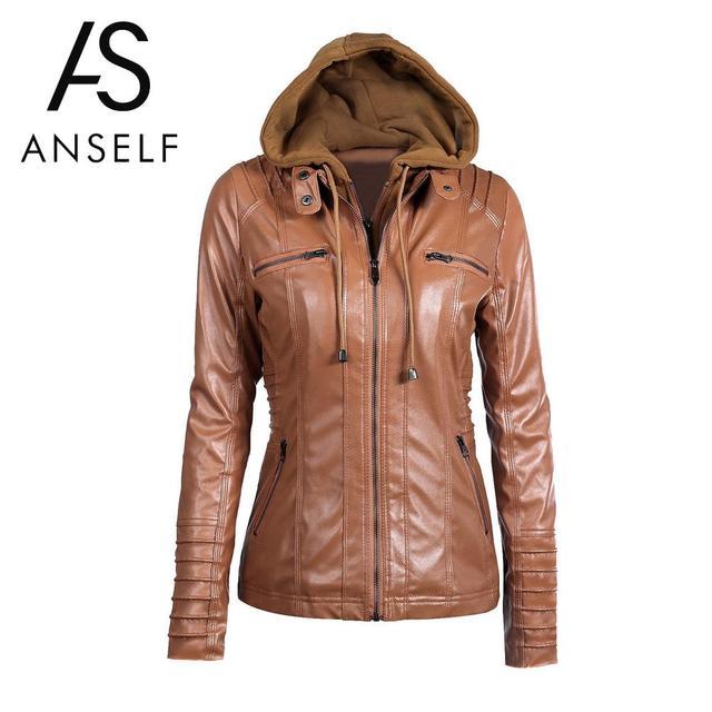Anself 7XL Plus Size Coat Black Winter Pu Faux Leather Jacket ...