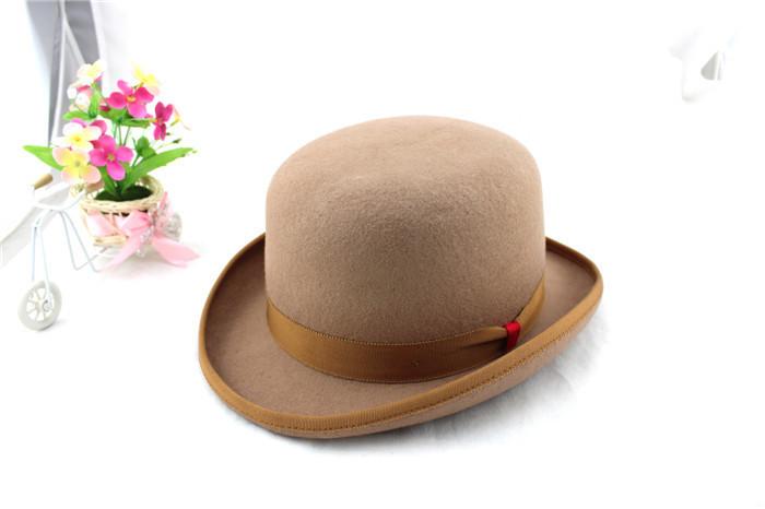 93b30c7ebda Mens Women Classical Black Camel Wool Felt Fedora Bowler Top Hat ...