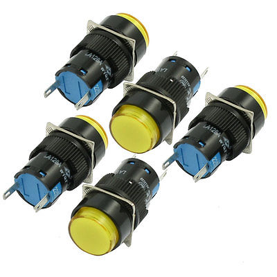 10 x AC 220V 16mm Yellow Bulb Power Round Panel Indicator Light Pilot Lamp