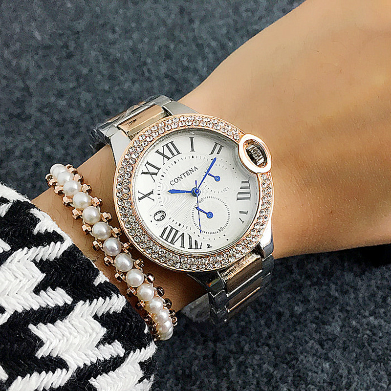 Crystal Dial Business Dress ladies Watch CONTENA Fashion Simple Roman Number Women's Watches Quartz Wristwatches Relogio bronze cool full hunter anchor pirate design theme fob pocket watch quartz roman number dial casual fashion chain best gift kids