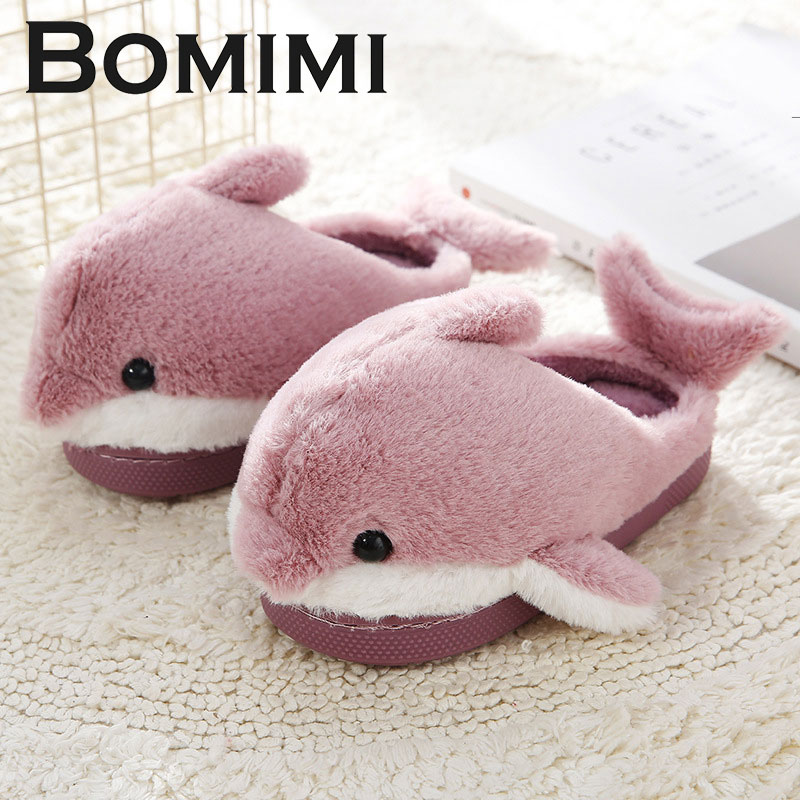 BOMIMI Children Slippers Boy And Girls Cute Cartoon Dolphin Kids Home Shoes  Warm Winter Cotton Shoes Home 8818
