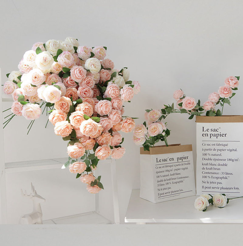 12pcs Lot Wholesale Rose Peony Artificial Flower Branch For