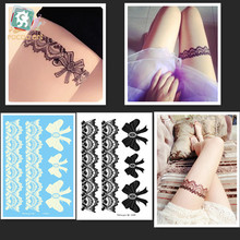 LS602/New 2016 high quality temporary big sexy black/White lace bow-tie design hena tattoo sticker for body leg
