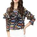 2017 moda primavera camisa blusa wome imprimir clothing ruffles shirt mulheres mulheres elegantes camisas gola redonda roupas baratas china