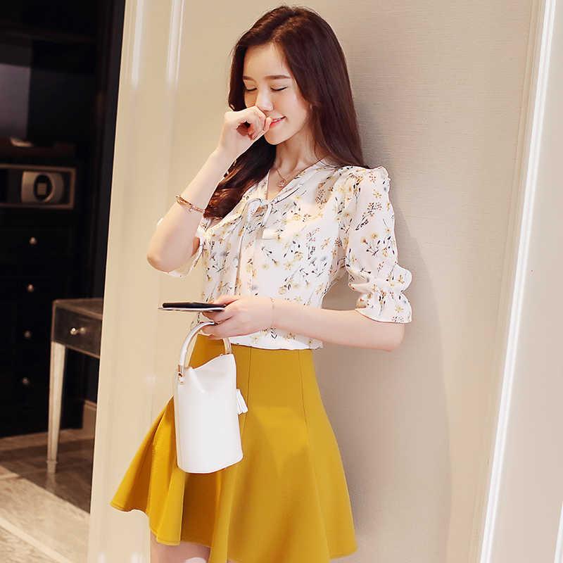أزياء النساء قمصان 2019 الشيفون قميص مضيئة كم قصير الخامس الرقبة المطبوعة الشيفون أعلى قميص فضفاض قمصان الطباعة 3051 50