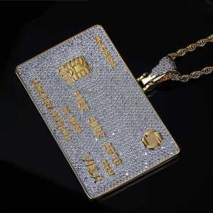 Image 4 - Full Iced Out Credit Card Pendant Necklace Mens Gold Silver Color Hip Hop Jewelry With Tennis Chain Charm CZ Jewelry Gifts