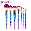 7 pçs/set Rainbow Cabelo Diamante Maquiagem Cosméticos Brushes Set Fundação sombra de Olho Blush Em Pó Unicórnio Misturando compo a Escova