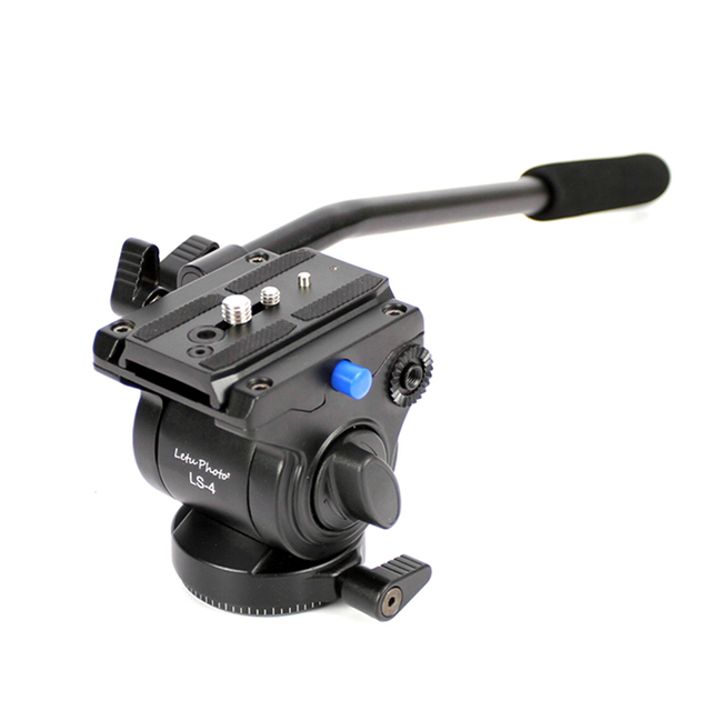 XILETU Video Tripod Head with Flat Base & Removeable Handle Grip for Canon Nikon Sony DSLR Camera Camcorder Shooting Filming