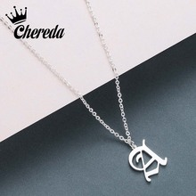 Chereda Women Old English Custom Necklace A-Z Letter Chain Pendants Necklaces Men Font Personality Capital Jewelry my order