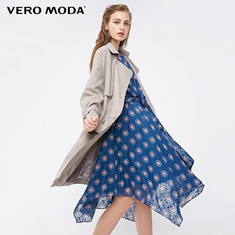Vero Moda 2019 New Lapel Buttoned Lace-up Loose Fit Wind Coat Long   Trench   Coat | 318321512