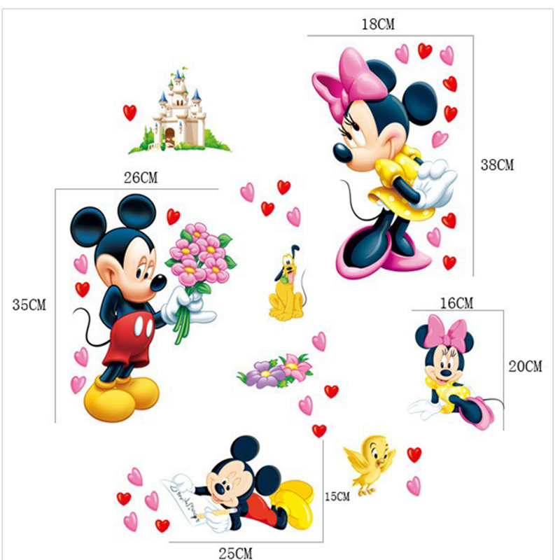 Aliexpress.com : Buy Mickey Mouse And Minnie Mouse Wall Sticker Home Decor  Cartoon Wall Decal DIY For Kids Room Decal Baby Vinyl Mural Nursery XY8126  From ... Part 53