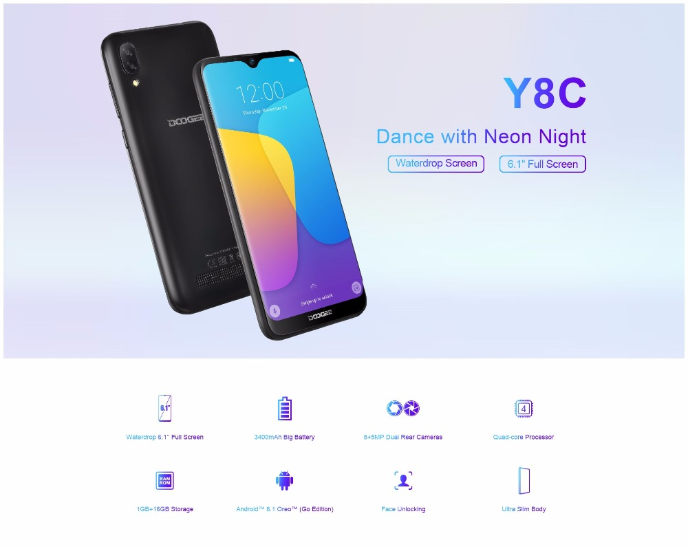 DOOGEE Y8c 6.1 inch 19:9 Waterdrop LTPS Screen Smartphone Face Unlocking 16GB ROM 8MP+5MP Mobile Phone 3400mAh Android 8.1 WCDMA-in Cellphones from Cellphones & Telecommunications    2