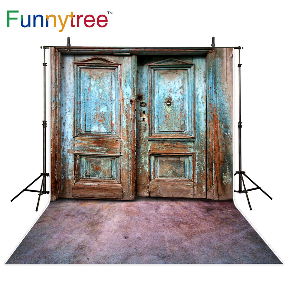 Funnytree Photo Background Vintage Wooden Old Door