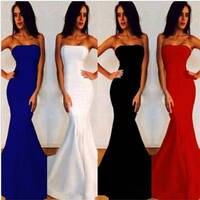 ארוך מסיבת ערב שמלת קיץ 2017 תחבושת אלגנטית Slim הליידי אישה ללבוש לנשף אורך רצפת שמלת מקסי Vestidos שחור לבן אדום