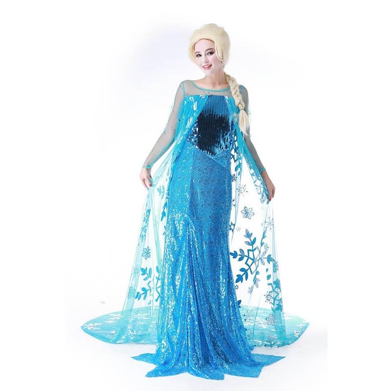 Anna Elsa Ice Queen Women Dress Cosplay Costume Fancy Dresses Princess Fancy Cosplay Elsa Adult Dress