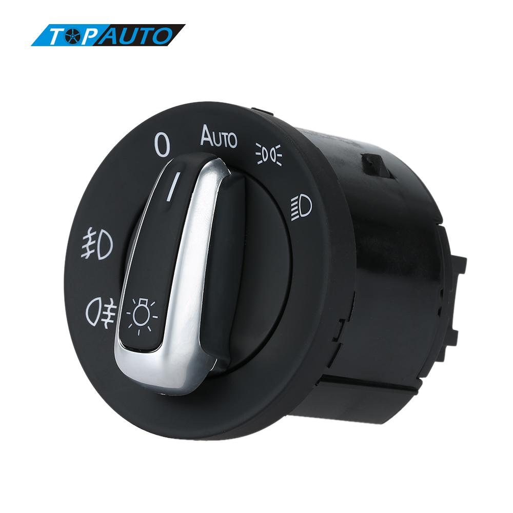 Car Style Headlight Control Switch Car Fog Light Plating Knob Replacement Car Accessories for VW Volkswagen JettaMK5 PassatB6