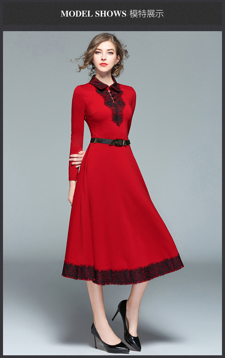 England Long Christmas Red Lace Dress Winter Dresses Women 2018 Long ...